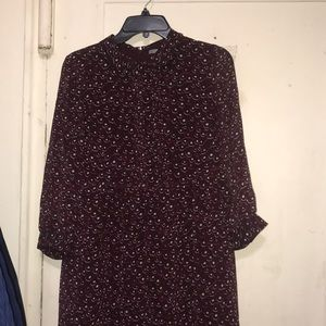 Uniqlo burgundy dress w/ see-through sleeves